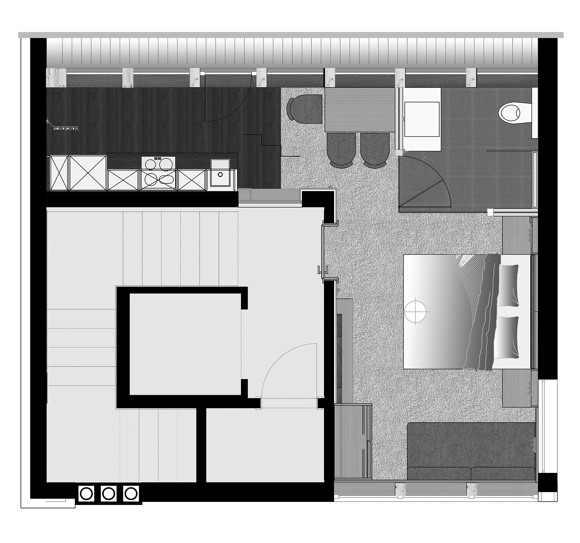 The Apartment People: Penthouse-Studio 2-3 People (about 30m²)